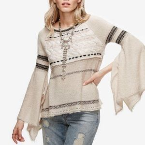 Free People Mohair Wool Blend Cable Sweater S